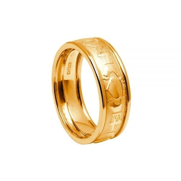 Gents Gold Court-Shaped Claddagh Ring