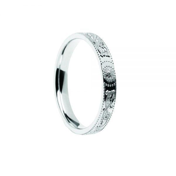 Court Shaped CW Shield Wedding Ring – Very Narrow