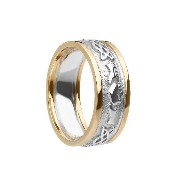 Ladies Celtic Knot Claddagh Ring with Trims