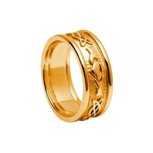 Ladies Gold Celtic Knot Claddagh Ring