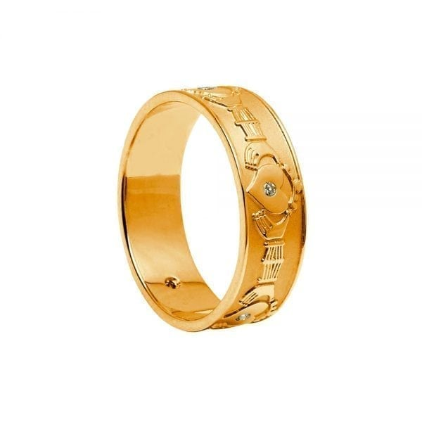Ladies Diamond Set Band Style Claddah Ring