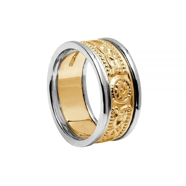7.5mm Laser Celtic Warrior <sup></noscript>®</sup> Ring in Yellow Gold Ring with White Rails