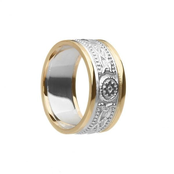7.5mm Laser Celtic Warrior <sup></noscript>®</sup> Ring in White Gold Ring with Yellow Rails