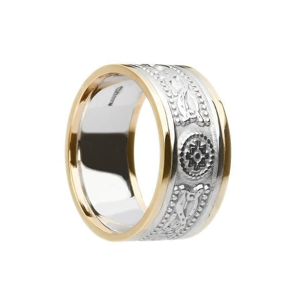 9.2mm Laser Etched Celtic Warrior <sup></noscript>®</sup> White Gold with Yellow Gold Rails