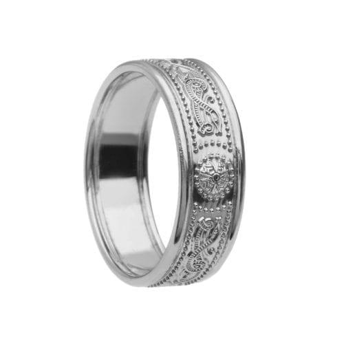 Celtic Warrior Shield Wedding Ring - Very Narrow with Trims - Very Narrow with Trims