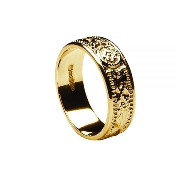 7.5mm Laser Celtic Warrior <sup></noscript>®</sup> Ring with Yellow Gold Ring with Yellow Rails