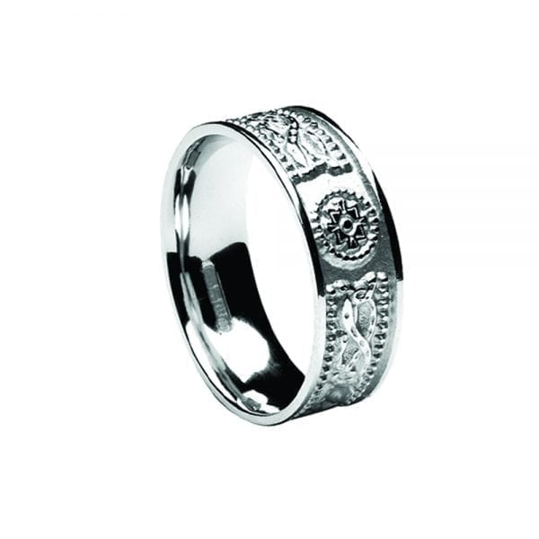 7.5mm Laser Celtic Warrior <sup></noscript>®</sup> Ring with White Gold Ring with White Rails