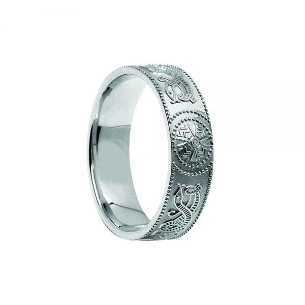 Court Shaped Celtic Warrior Shield Wedding Ring – Medium