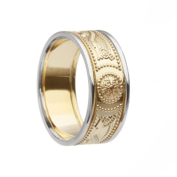 Celtic Warior Shield Wedding Ring – Medium with Trims