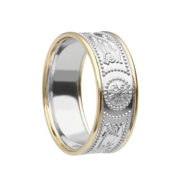 Celtic Warrior Shield Wedding Ring – Medium with Trims