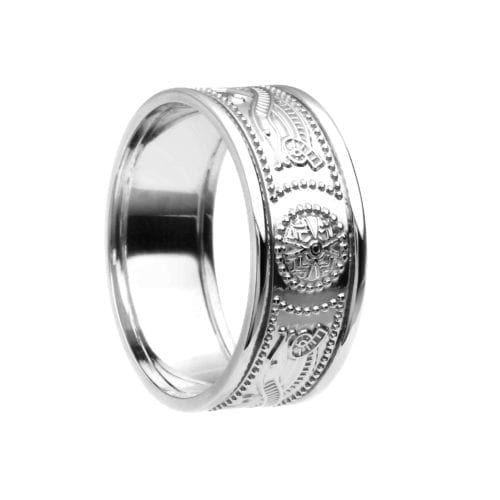 Celtic Warrior Shield Wedding Ring - Very Narrow with Trims