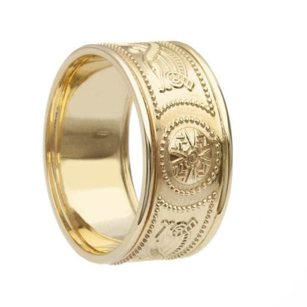 Celtic Warrior <sup></noscript>®</sup> Shield Wedding Ring – Extra Wide with Trims