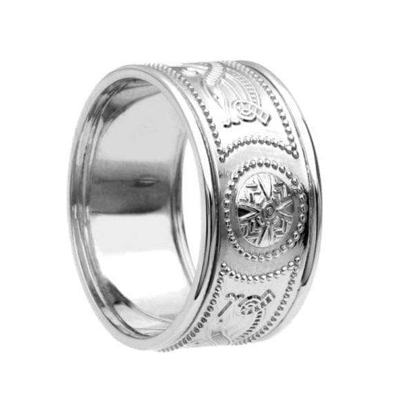 Celtic Warrior <sup></noscript>®</sup> Shield Ring – Extra Wide with Trims