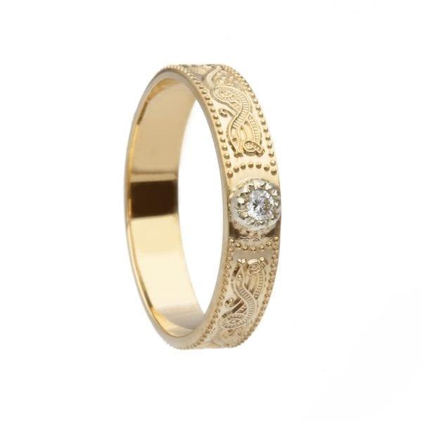 Diamond Set Celtic Warrior <sup></noscript>®</sup> Shield Wedding Ring – Narrow