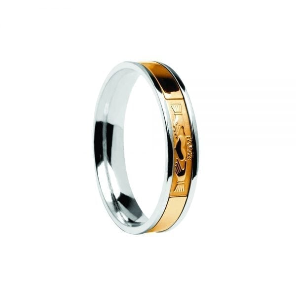 Gents Yellow Centre on White Claddagh Ring