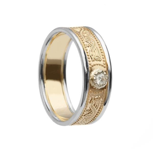 Diamond Set Celtic Warrior <sup></noscript>®</sup> Shield Wedding Ring – Narrow with Trims