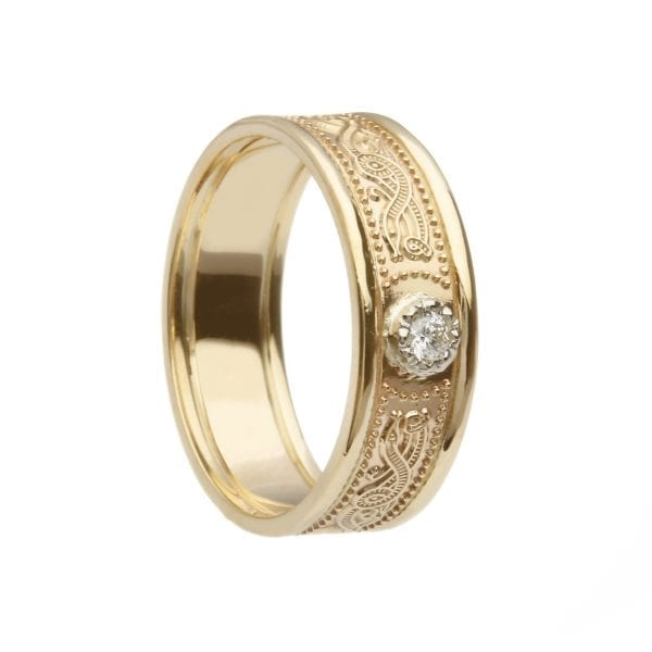 Celtic Warrior Shield Gold Wedding Ring - Very Narrow with Trims