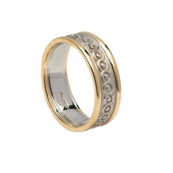 Gents Continuity Celtic Wedding Ring with Trims - Boru Jewelry