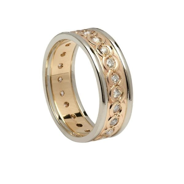 Ladies Diamond Set Continuity Wedding Ring with Trims - Boru Jewelry