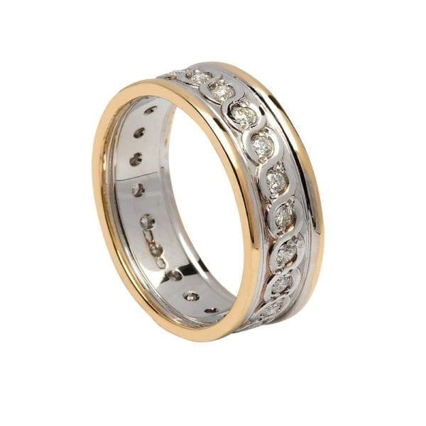 Ladies Diamond Set Continuity Wedding Ring with Trims - Boru Jewelry