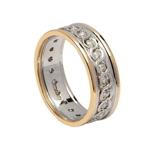 Gents Diamond Set Continuity Wedding Ring with Trims - Boru Jewelry
