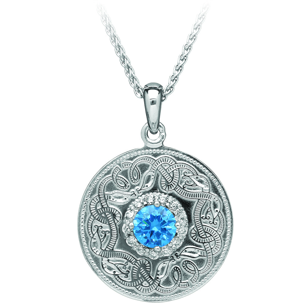 Swiss Blue Celtic Warrior Pendant