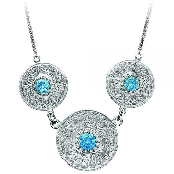 Celtic Warrior <sup></noscript>®</sup> Style Necklace with Swiss Blue and Clear CZ Stones – Triple Disc