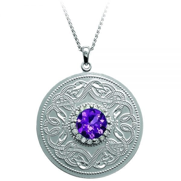 Large Amethyst Celtic Warrior Necklace