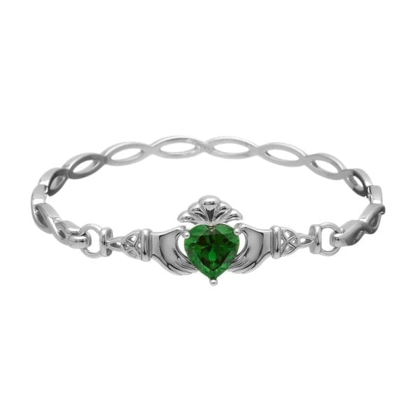Green Stone Claddagh Bangle