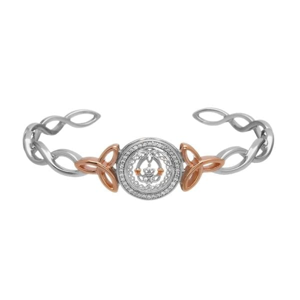 Silver Bangle Claddagh & Celtic CZ Cuff Rose Gold Plated