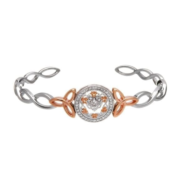 Silver Bangle Claddagh & Shamrock CZ Cuff Rose Gold Plated