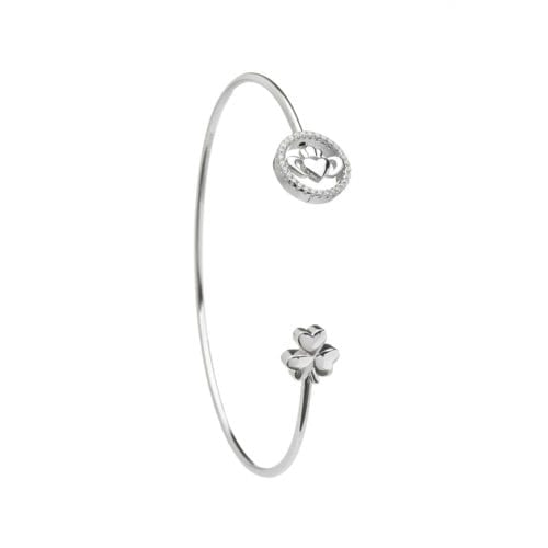 Claddagh and Shamrock Wire Bangle