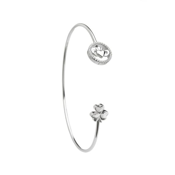 Stone Set Claddagh and Shamrock Wire Bangle