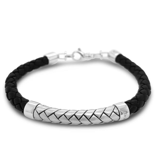Sterling Silver Black Leather Herringbone Bracelet