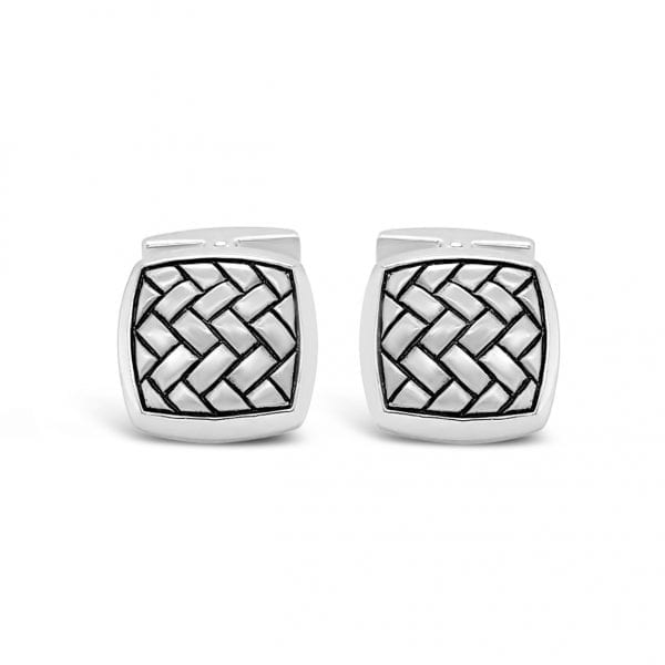 Sterling Silver Herringbone Cufflinks
