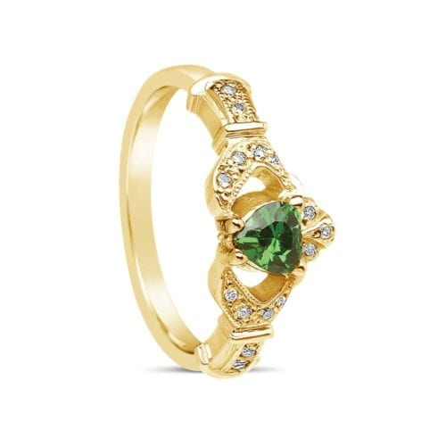 Emerald & Diamond Claddagh Ring