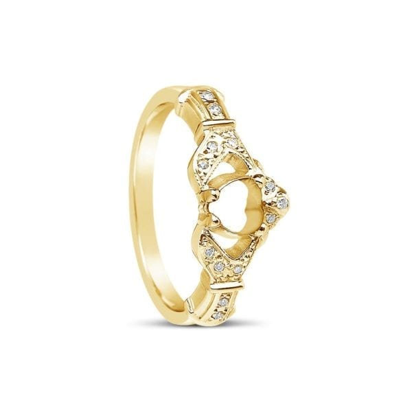 Mount Only Claddagh Ring with Diamond Set Hands and Crown