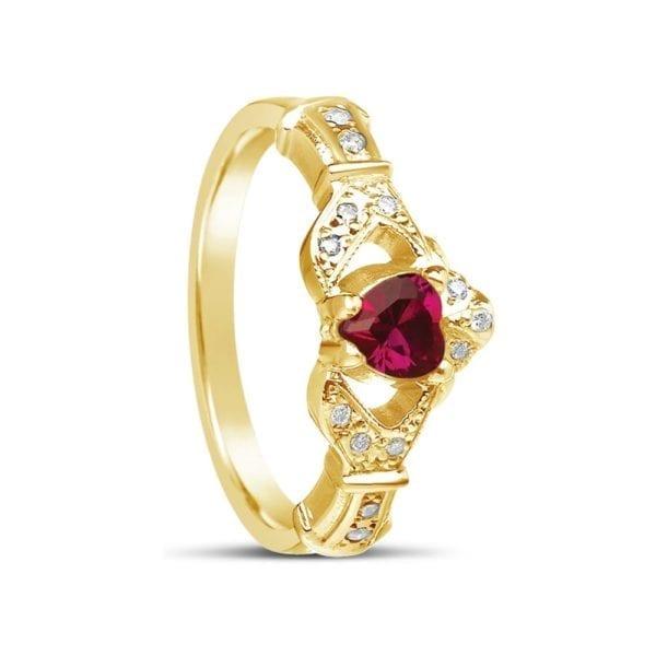 Ruby Diamond Claddagh Ring