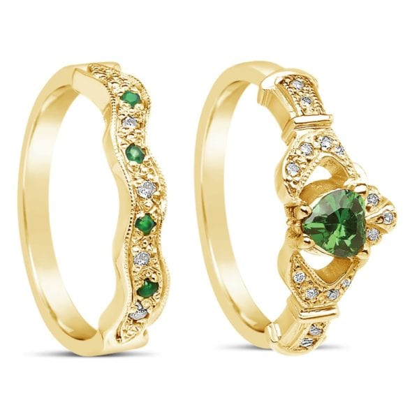 Diamond and Emerald Claddagh Ring with Wedding Band