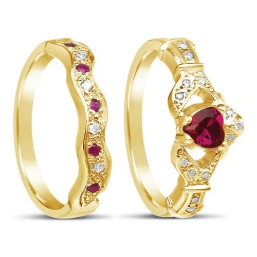 Ruby and Diamond Claddagh Ring