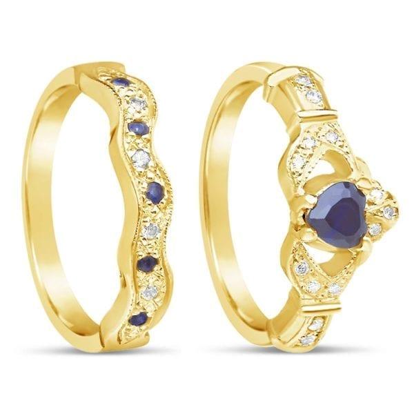 Sapphire & Diamond Claddagh Ring