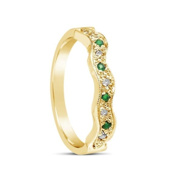 Emerald Design Wedding Band