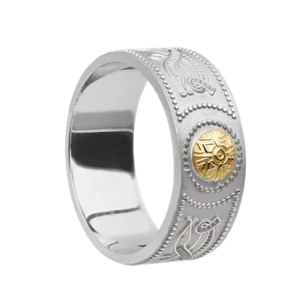 Gents Wide Celtic Warrior Shield Wedding Ring with 18K Gold Bead