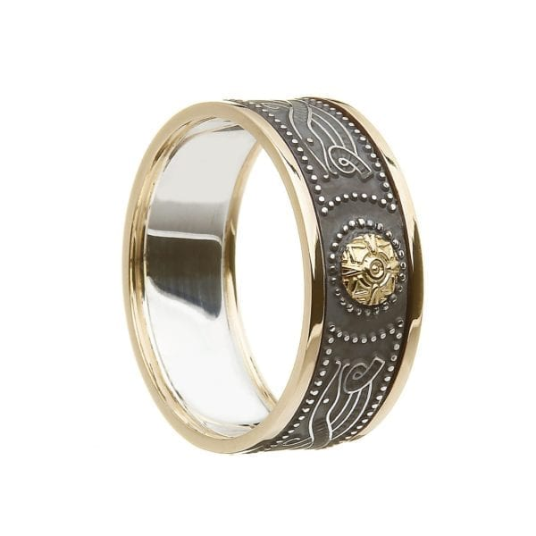 Gents Silver and 10K Gold Trim Celtic Warrior Wedding Ring with Gold Bead