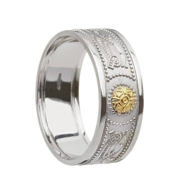 Celtic Warrior Shield Wedding Ring with 18K Gold Bead