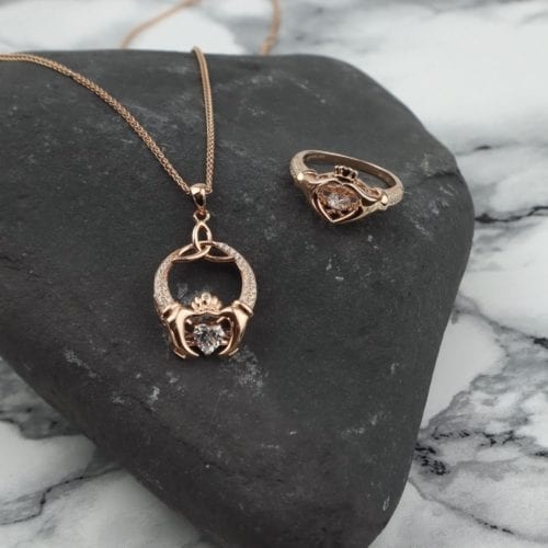Dancing Stone Rose Gold Plated Claddagh Pendant and Ring