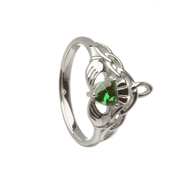 Claddagh Ring with Green CZ with CZ - Celtic Jewelry