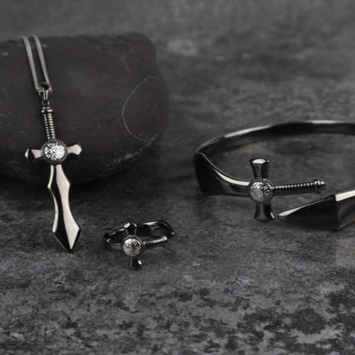 Black Rhodium Sword of Nuada Bangle