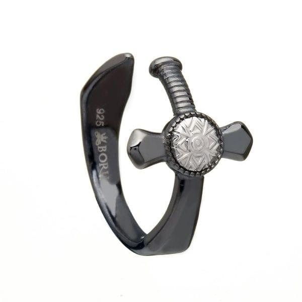 Black Rhodium Nuada Sword Ring - Boru Jewelry