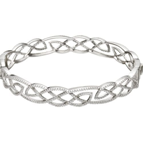 Interlaced Celtic Pattern Bangle with Cubic Zirconia